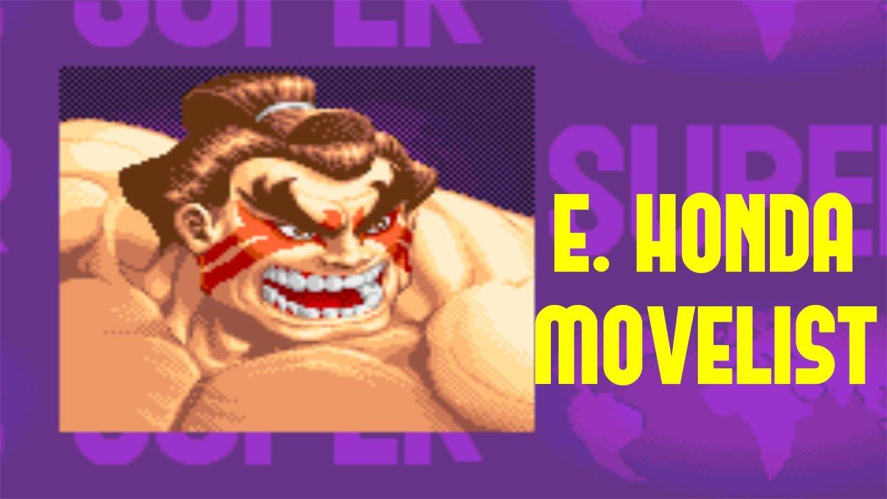 Super Street Fighter Ii Turbo E Honda Move List Youtube