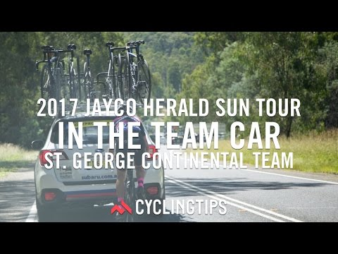 In the St. George team car at the Jayco Herald Sun Tour