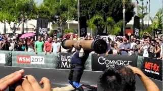 Zydrunas Savickas 485Lb Shoulder Press World Record with a log, at WSM in California 2012