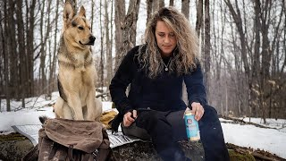 ALONE in the WOODS with my Dog | Hike and Cook, New Bushcraft Bag