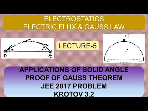 electric-flux-|-lecture-5-|applications-of-solid-angle-|proof-of-gauss-law|jee-2017-ques-|krotov-3.2