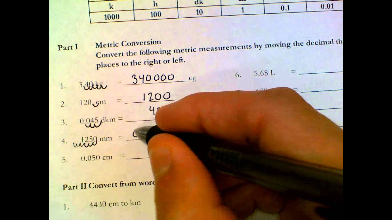 Completing Metric Conversions Answer Key ** - YouTube