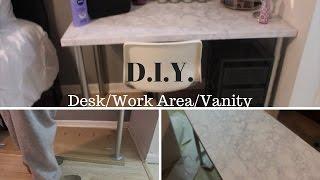 diy desk vanity ft ikea