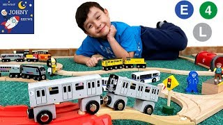 Johny Unboxes New MTA Subway Trains Toy With MTA Wooden Tracks