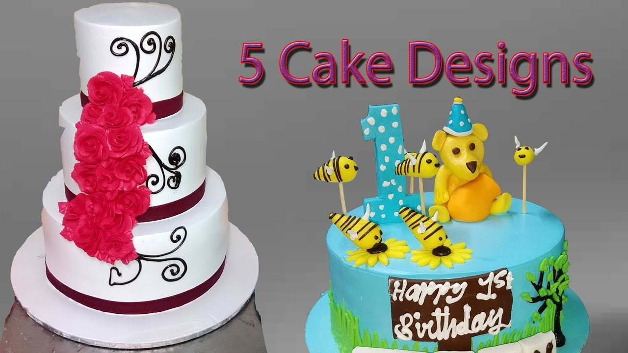 Five Tasty Bakery Birthday Cake Designs And Decorations Ideas Youtube