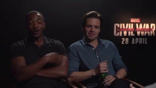 Captain America: Civil War Cast Interview - Anthony Mackie, Sebastian Stan