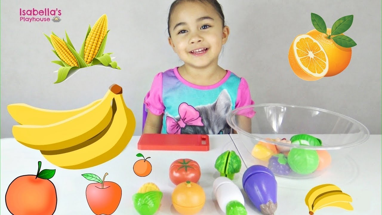 Learn Colors With Velcro Fruits And Vegetables Toy Cutting