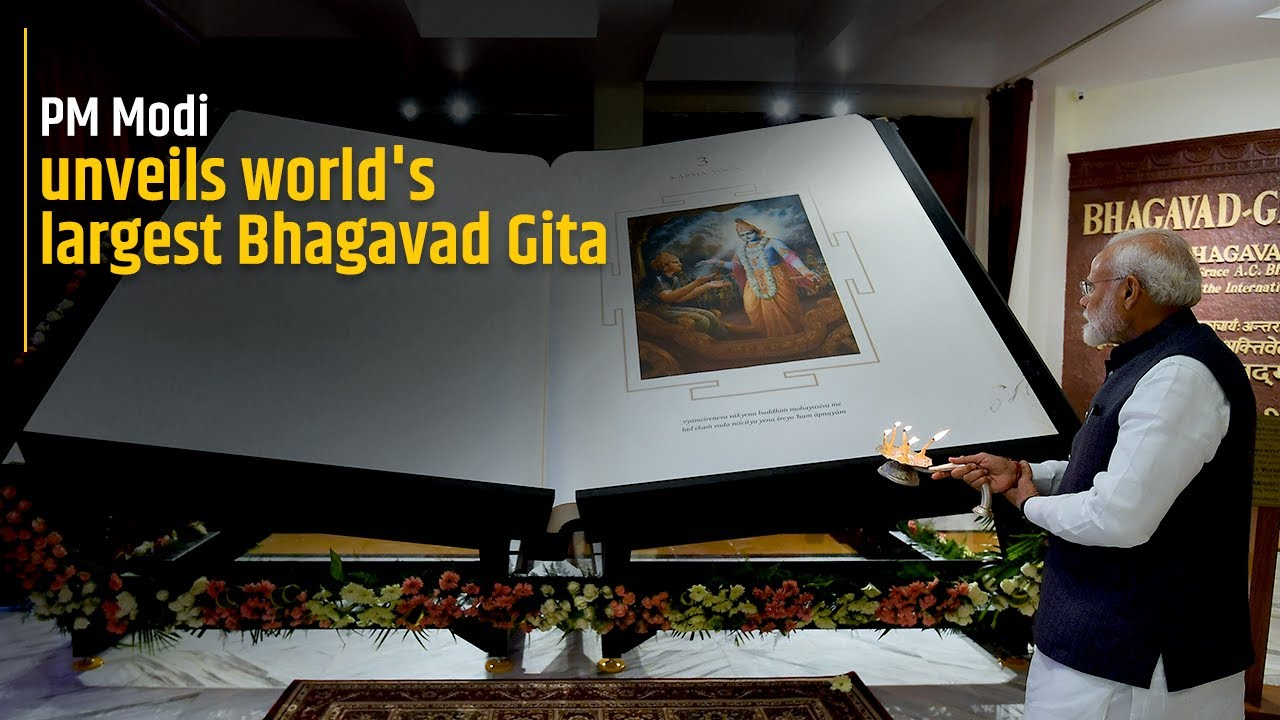 PM Modi unveils the world's largest Bhagavad Gita at ISKCON Temple