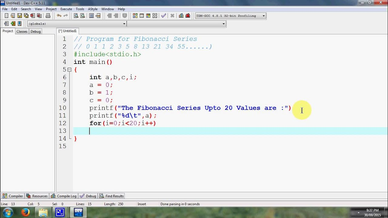 Write a vb program to find fibonacci series in c