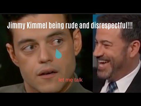 Jimmy Kimmel interrupting Rami Malek for 3 minutes straight