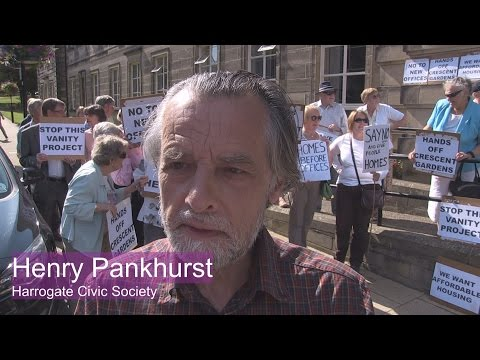 Protest Against Harrogate Borough Council Office Build - Henry Pankhurst Harrogate Civic Society