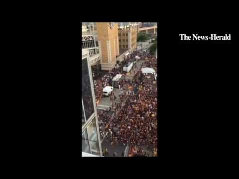 The scene outside Quicken Loans Arena for Game 7 of the #NBAFinals. Video by Tim Phillis