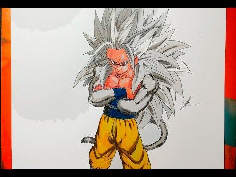 DIBUJANDO A GOKU SSJ 5 Dragon Ball AF - How To Draw SSJ5 - YouTube