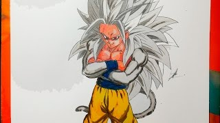 DIBUJANDO A GOKU SSJ 5 Dragon Ball AF - How To Draw SSJ5