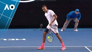 Nick kyrgios hits a tweener in his second round match against andreas seppi during the 2017 australian open