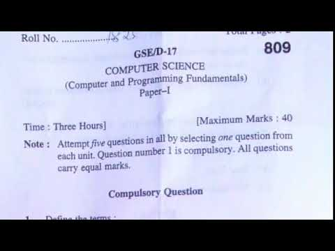 Computer and Programming Fundamental Question Paper Kuk university Nov 2017