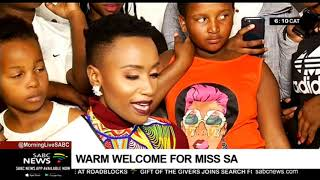 Warm welcome for Miss SA