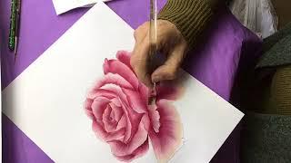 Otra Rosa en pintura decorativa con acrilico - parte 2