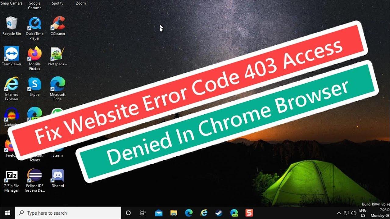 Fix Website Error Code 403 Access Denied In Chrome Browser Youtube