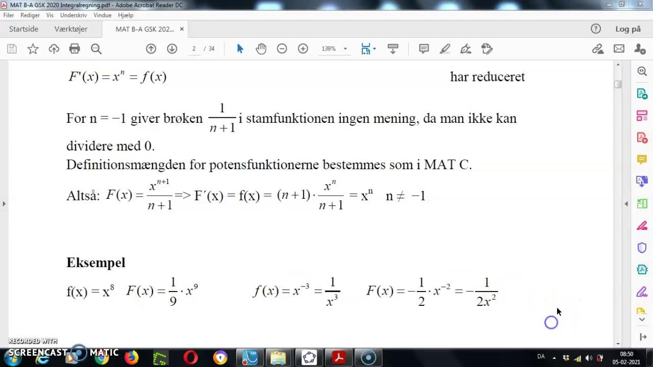Integralregning. Stamfunktion og Ø2