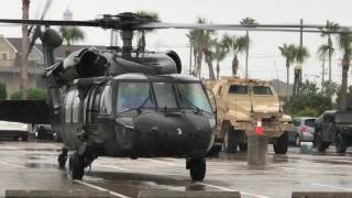 Black Hawk Take Off From Parking Lot