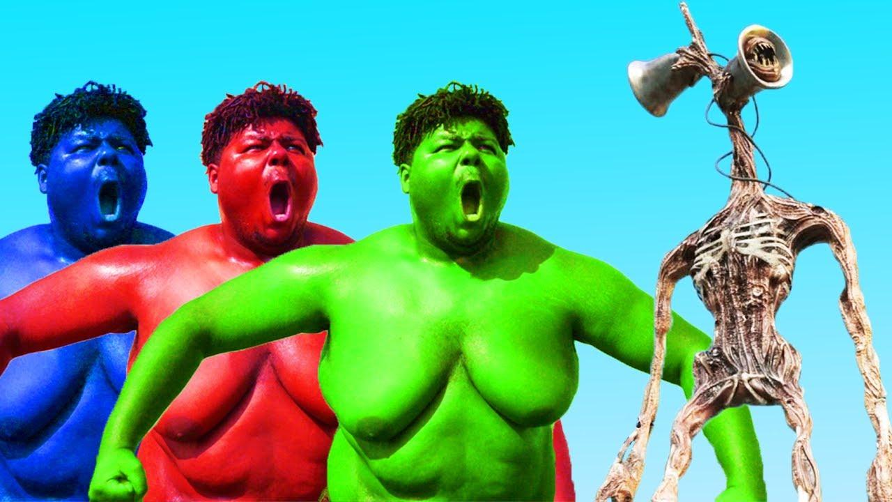 Siren Head VS Green Hulk VS Blue Hulk VS Red Hulk - YouTube