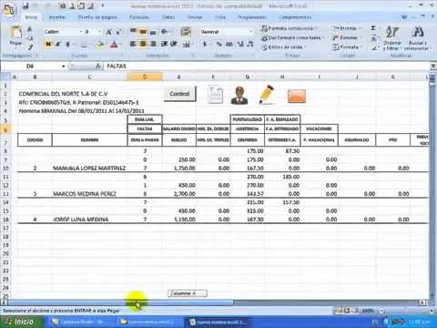 Nomina en excel youtube for Como hacer una liquidacion de nomina en excel