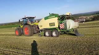 1 Schnitt 2020 Rundballenpressen mit Claas Axion 810 und Krone Comprima CF 155 XC