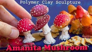 Polymer Clay Amanita Mushroom Sculpture // How to Sculpt Tutorial