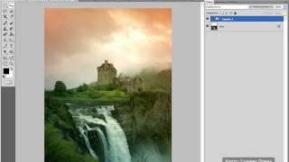 Создаём коллаж - Замок у водопада