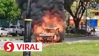Man escapes in nick of time before car caught fire