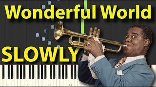 What a Wonderful World Louis Armstrong SLOWLY speed Piano Tutorial Gravity falls Synthesia