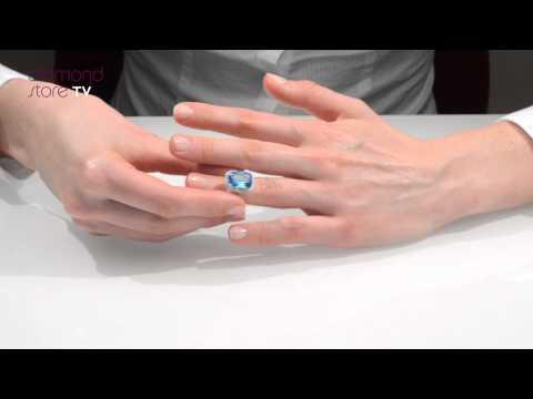 Blue Topaz  6.83ct  Ring Set In 9K White Gold - E5779