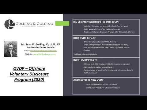 OVDP - 2020 Updated Rules to IRS Offshore Voluntary Disclosure Program & Traditional VDP Offshore