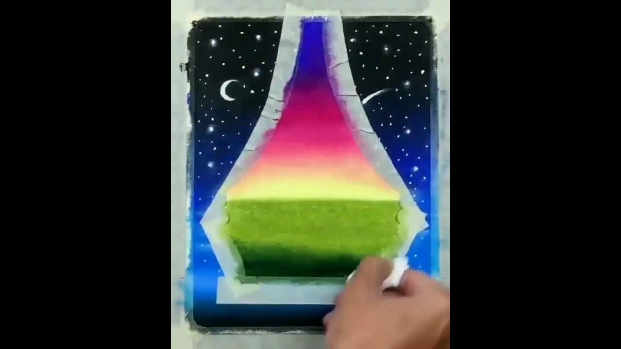 Hướng dẫn vẽ tranh sáp màu galaxy cực đẹp | Tutorial Art