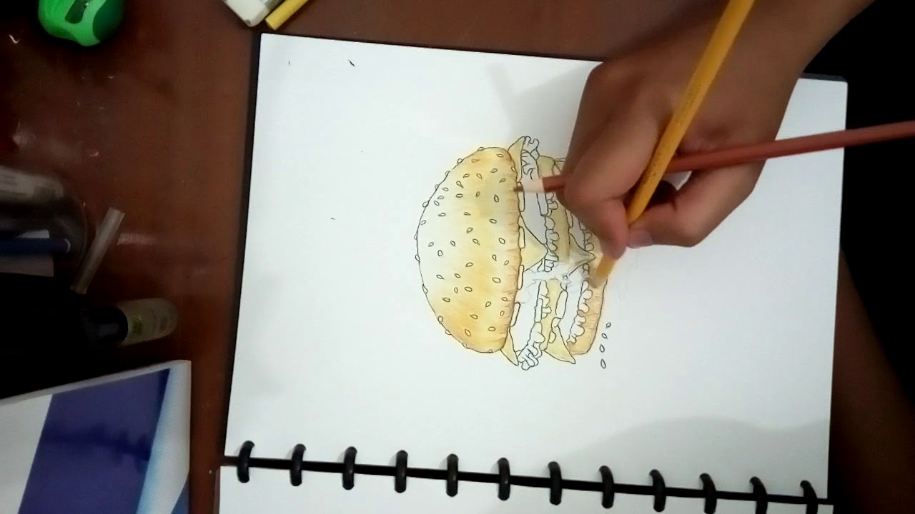Drawing burger pencil colour
