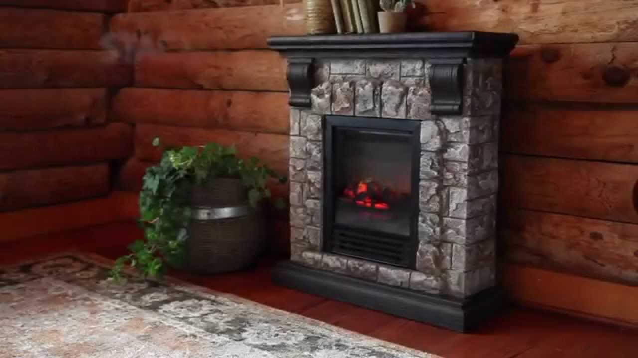 faux stone electric fireplace sku 13902 plow u0026 hearth youtube