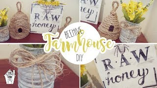 DOLLAR TREE FARMHOUSE BEEHIVE DIY | SPRING DECOR DIY