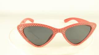 Модные очки кошачий глаз - Красные со стразами (имитация) - 1-8865