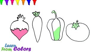 Vegetables And Fruits Coloring Game Learning For kids