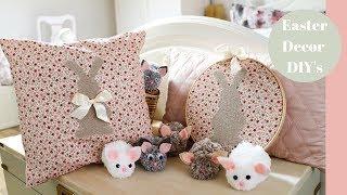 DIY Easter Crafts, Pom Pom bunnies and Bunny cushion