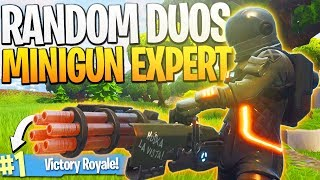 One of iTemp Plays's most viewed videos: My RANDOM DUOS Partner is a MINIGUN EXPERT! - PS4 Fortnite Random Teammate Challenge!