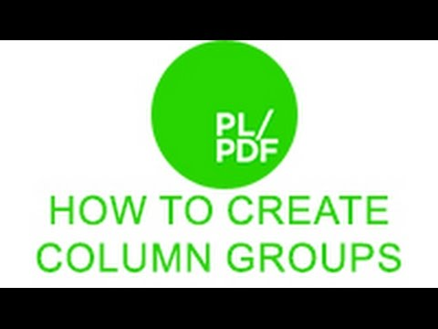 How to use the column group SDT in PL/PDF