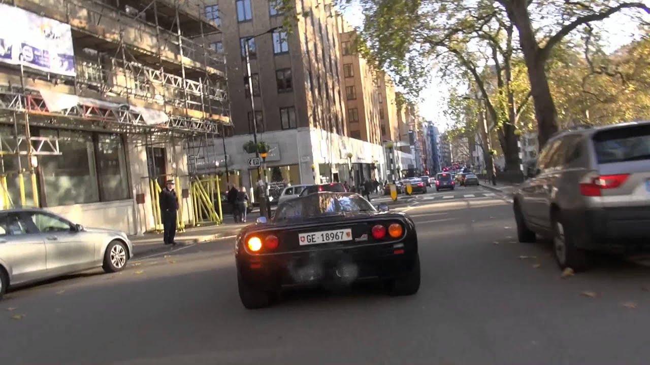 black mclaren f1 v skinny tyres in london - start up & cruising