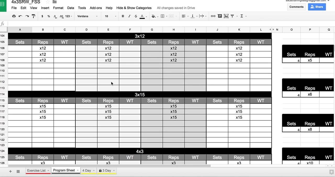personal trainer workout template - workout spreadsheet google docs blog dandk