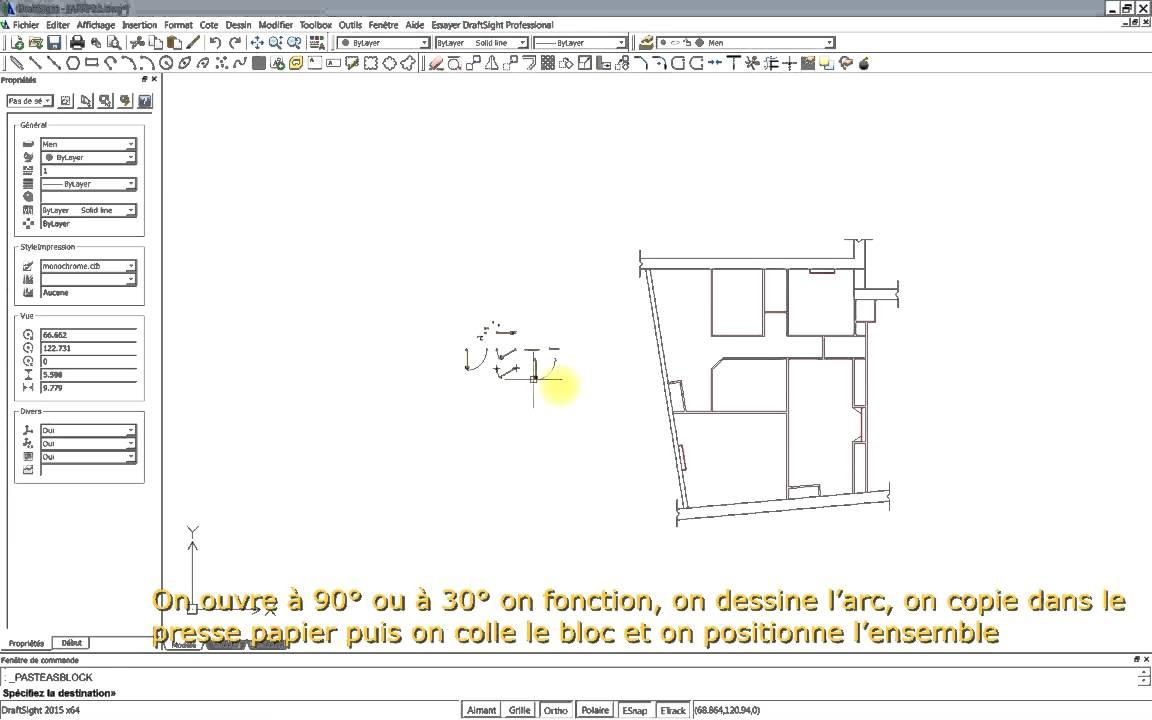 dessiner un plan d 39 appartement avec draftsight 2015 partie 2 youtube. Black Bedroom Furniture Sets. Home Design Ideas