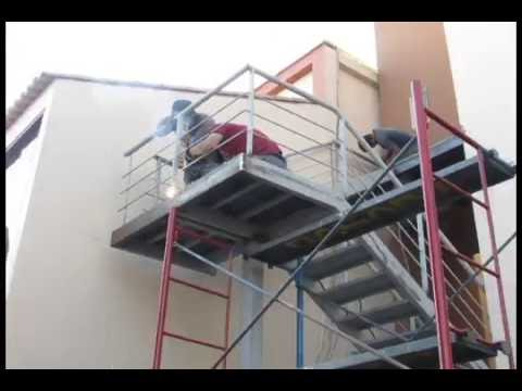 Escalera met lica para exterior youtube for Gradas metalicas para casas