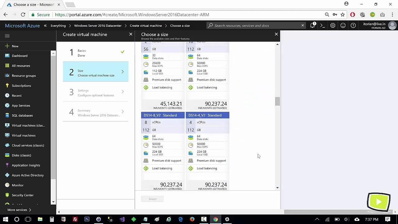 Creating Azure Virtual Machine - step by step