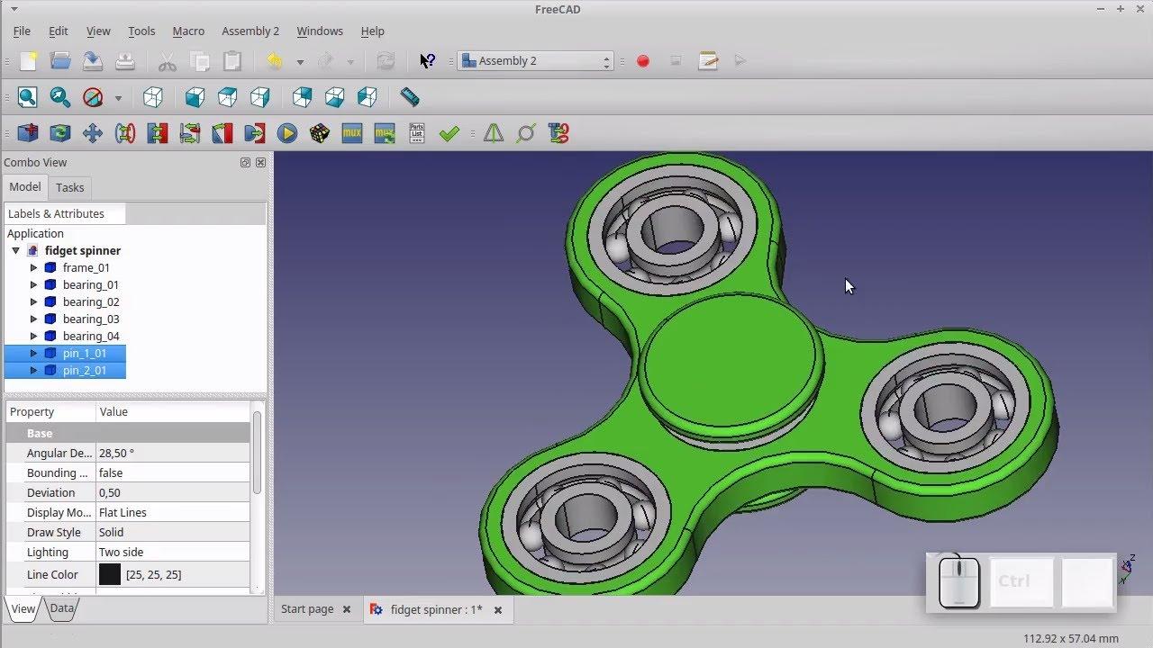Hand spinner réalisé sous freecad meilleur logiciel CAO