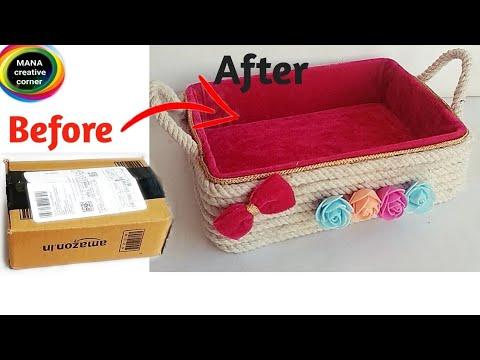 Beautiful Basket from waste cardboard box# Best cardboard box craft idea# DIY Rope Basket _cardboard